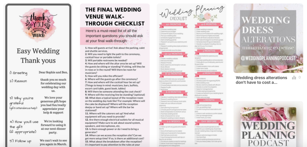 free wedding checklists